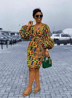 African Print Wrap Dress Puff Sleeves Kente Dress Ankara Dress African Print Clothing for Women Handmade Africa Dress African Fashion African Fashion Ankara, Latest African Fashion Dresses, African Print Fashion, Nigerian Fashion, Africa Fashion, African Women Fashion, Modern African Fashion, Ghana Fashion, Fashion Women