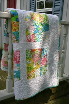 Here's my finished crazy 9 patch quilt made with vintage sheets and pillowcases. It's a twin sized quilt.