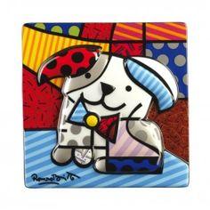 """Tableau en Porcelaine """" Ginger le chien heureux"""" par Romero Britto. Des oeuvres radicalement optimistes à découvrir"""