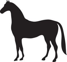 Free Horse Clip Art Image: Black Silhouette of a Beautiful Strong Horse