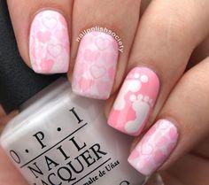 It's A Girl!>> Nail Polish Society Baby Nail Art, Baby Girl Nails, Girls Nails, Girls Nail Designs, Pretty Nail Designs, Diy Nail Designs, Baby Shower Nails, Opi, Mary Janes