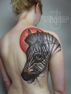 New Horse Tattoo on Back Shoulder by Peter Aurisch