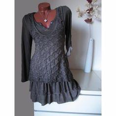 Strick Tunika Kleid Muster meliert Volant Shirt 30% Seide...