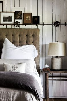 Raw and natural bedroom. Lovely linen.