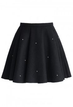 Crystal Grace Wool Skirt in Black - New Arrivals - Retro, Indie and Unique Fashion