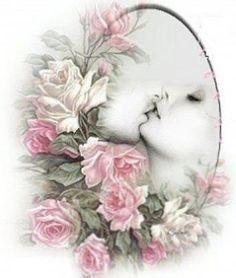 love the softness. Decoupage Jars, Decoupage Vintage, Decoupage Paper, Vintage Paper, Creative Flower Arrangements, Floral Arrangements, Vintage Pictures, Vintage Images, Flower Frame