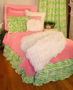 Lilly is a zebra bedding for girls that is fun and unique with its sweet soft pink mixed with its electric lime green zebra stripe that is seen in its quilt, bed sheets and other coordinating accessor Leopard Print Bedding, Zebra Bedding, Animal Print Bedding, Pink Comforter, Teen Bedding, Bedding Sets, Teen Girl Rooms, Girls Bedroom, Kids Rooms