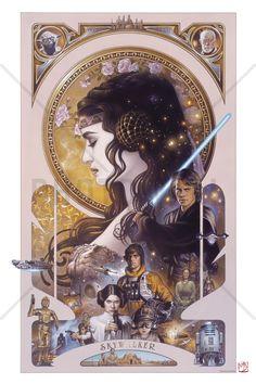 Star Wars - Anakin Skywalker and Padme Amidala Artwork - Bilder på lerret - Photowall