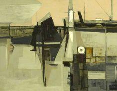 'NEWLYN HARBOUR' (1953) | Bryan Wynter: Oil on fibre board, 68 x 88cm     ✫ღ⊰n