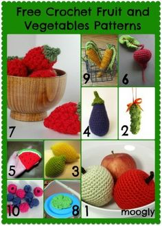 Play with Your Food: 40 Free Amigurumi Patterns to Crochet Today! – Evelyne Belliard Play with Your Food: 40 Free Amigurumi Patterns to Crochet Today! Free Crochet Amigurumi Fruit and Vegetable Patterns Crochet Fruit, Crochet Food, Crochet Crafts, Crochet Projects, Crochet Cupcake, Crochet Amigurumi Free Patterns, Crochet Motifs, Crochet Dolls, Knitted Dolls