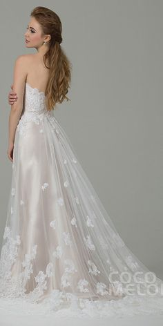 $329. champagne tulle #weddingdress with appliques. #cocomelody