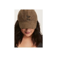 Torrid Sassy But Classy Faux Suede Cap ($11) ❤ liked on Polyvore featuring accessories, hats, baseball caps, hats & hair accessories, plus size, embroidered caps, baseball cap hats, baseball hats, faux suede baseball cap and embroidered hats