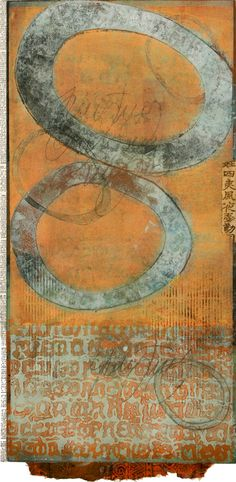 """Set Free, by Anne Moore, monotype with collage, 21""""X 10"""""""