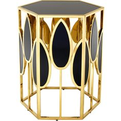 Eichholtz Florian Side Table (1 870 AUD) ❤ liked on Polyvore featuring home, furniture, tables, accent tables, gold, black table, square table, leaf tables, black side table and hexagon table