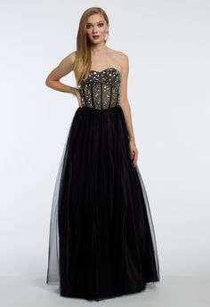 Show off your style in this majestic ball gown dress! The strapless neckline, illusion beaded bodice, ball gown tulle skirt, and open lace up back make this prom dress picture perfect. #camillelavie #CLVprom17