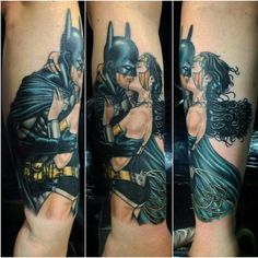 My finished Batman and Wonder Woman tattoo. Batman Wonder Woman, Batman Tattoo, Skin Art, Types Of Art, Tattoo Inspiration, Tattoos For Guys, Tatting, Body Art, Ink