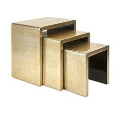 House of Hampton Elaine 3 Piece Nesting Tables Plywood Furniture, Modern Furniture, Metallic Furniture, Plywood Table, Lacquer Furniture, Furniture Board, Furniture Design, Palazzo, Gold Nesting Tables