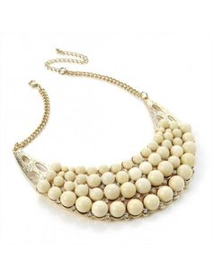 CREAM BEAD GOLD HALF MOON LADIES FASHION NECKLACE - Chunky Necklaces - Necklaces - Jewellery