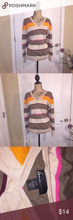 Lane Bryant lightweight v neck sweater Stripped lightweight sweater.  Super soft material. Lane Bryant Sweaters