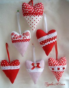 Red and white hearts.