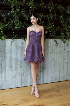 Purple silk dress / ruched silk dress / Rochie cu corset din matase plisata manual / Rochie cununie - Maigre Couture Corset, Strapless Dress, Couture, Silk, Dresses, Fashion, Lean Body, Moon, Strapless Gown