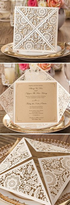 rustic elegance laser cut pocket wedding invitations