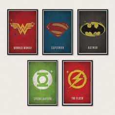 Justice League Poster Series - Superman, Batman, Wonder Woman, Green Lantern, Flash-- Totally getting these for the playroom!