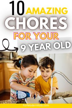 Here are 10 quick chores for 8-9 year olds that are sectioned by age allowance and that are totally easy for kids to do! Teach your kid responsibility by giving them household chores for them to do! #choresbyageallowance Chores For Kids By Age, Chore List, Charts For Kids, Household Chores, 8 Year Olds, Earn Money, Teaching, Children, Easy