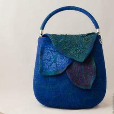 Felted bag | Купить Cумка После грозы. - тёмно-синий, зеленый, изумрудный, сумка ручной работы