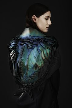 Innovative Textiles Design - sculptural leather garments with feathered textures, coloured with heat responsive ink; fabric manipulation art // Lauren Bowker