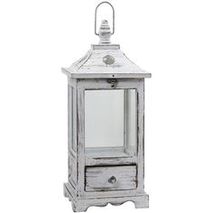 Distressed Wooden Lantern Decorative Lantern (£150) ❤ liked on Polyvore featuring home, home decor and candles & candleholders