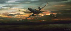 Xwings Squad by daRoz.  wonderful variation on Spitfire at sunset.  nice.