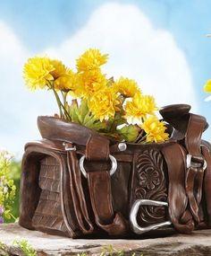 Rustic Western Theme Cowboy Saddle Planter Garden Outdoor Yard Decor