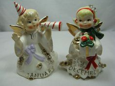 Vintage December and January Lefton Angel Figurines Christmas New Years