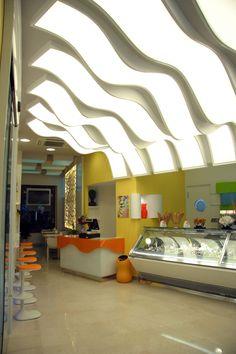 Il Gelato Perrucci, bar-gelateria di Cerignola Shop Signage, Signage Design, Gelato, Milk Shop, Divider, Flooring, Interior, Room, Ice Cream
