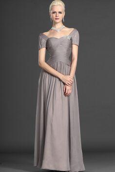 Elegant Mother Of The Bride Dress Short Sleeve Floor Length Ruffled And Beaded USD 119.99 STPCMXQF3S - StylishPromDress.com
