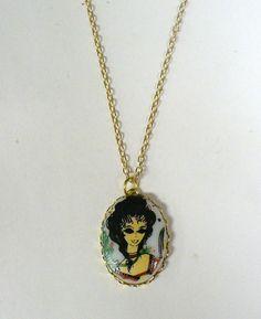 Vintage Glass Stone Lady Necklace DEADSTOCK by SHOPHULLABALOO, $8.99