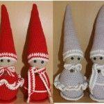 Hæklet nissepar Christmas Yarn, Christmas Knitting, All Things Christmas, Christmas Stockings, Christmas Crafts, Crochet Santa, Knit Crochet, Xmas Ornaments, Chrochet