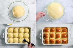 Steps for making Soft Brioche Dinner Rolls, including proofing the dough and then forming it into 12 balls, then brushing them with an egg wash before baking. Brioche Donuts, Brioche Rolls, How To Make Eggs, How To Make Bread, Baking Buns, Bread Baking, Yeast Rolls, Bread Rolls, Soft Rolls Recipe