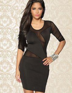 Sexy Kleid mit Netzeinsätzen  und 3/4 Ärmeln - zu kaufen im zugeschnuert-shop.de