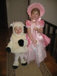 Halloween costume idea for the girls... Little Bo Peep and her sheep :)