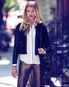 -401P Robert Rodriguez Tweed Jacket, Trimmed Silk Blouse & Metallic Leather Leggings