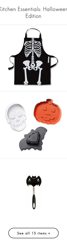 """""""Kitchen Essentials: Halloween Edition"""" by polyvore-editorial ❤ liked on Polyvore featuring Halloween, kitchenessentials, halloween, home, aprons, accessories, kitchen & dining, kitchen gadgets & tools, candy cutter and candy cookie cutter"""