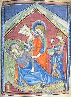 the sickness of the Virgin Mary - MS K.26, one of a sequence of 46 Biblical illustrations (c.1270-80) inserted at the front of a fourteenth-century Psalter (English)