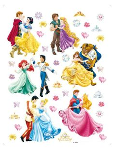 Disney princes Ook alle prinsen zijn aanwezig op het bal!  Deze set Disney Princess muurstickers zitten op een groot vel van 65 x 90 cm en bevat in totaal 6 grote en 30 kleinere muurstickers.   Afmetingen (b x h):  - Sneeuwwitje en prins: 20 x 29 cm  - Rapunzel en prins: 20 x 26 cm  - Ariël en prins: 30 x 26 cm  - Belle en het Beest: 24 x 28 cm  - Assepoester en prins: 25 x 29 cm  - Doornroosje en prins: 28 x 29 cm Prijs 29,95