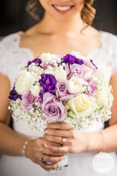 Beautiful elegant romantic bride bridal bouquet with shades of purple and ivory flowers Purple Wedding Bouquets, Bride Bouquets, Bridal Flowers, Bouquet Flowers, Pink Bouquet, Brooch Bouquets, Wedding Dresses, Wedding Flower Guide, Floral Wedding