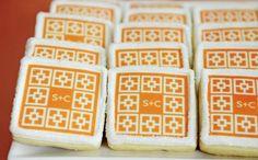 monogram sugar cookies.  love the print design.