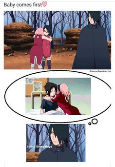 Haha Sasuke misses the times when Sakura would run and hug him ❤️❤️❤️Sarada comes first now