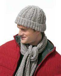 Gray Knit Scarf Set for Men | FaveCrafts.com