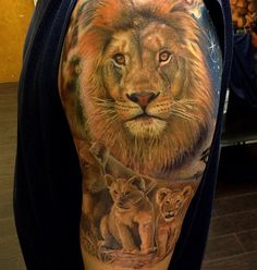Lion tattoo on arm - 50 Examples of Lion Tattoo | Art and Design